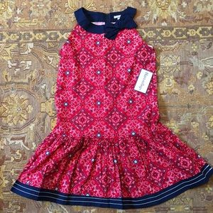 Hartstrings girls paisley red white and blue dress